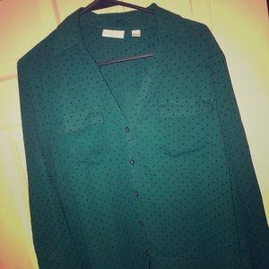 Hunter green and black polka dot top